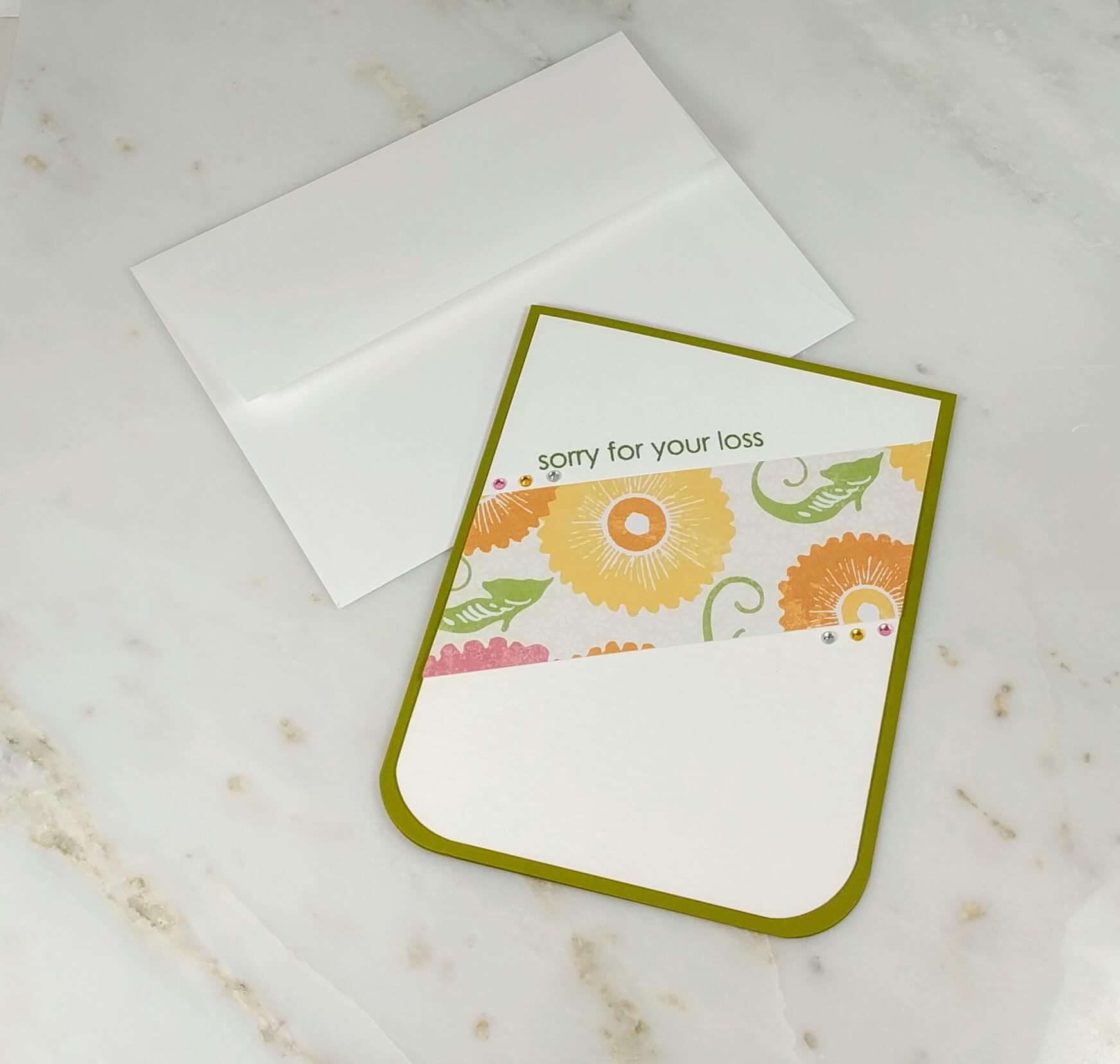 sorry for your loss  clean and simple sympathy card  one